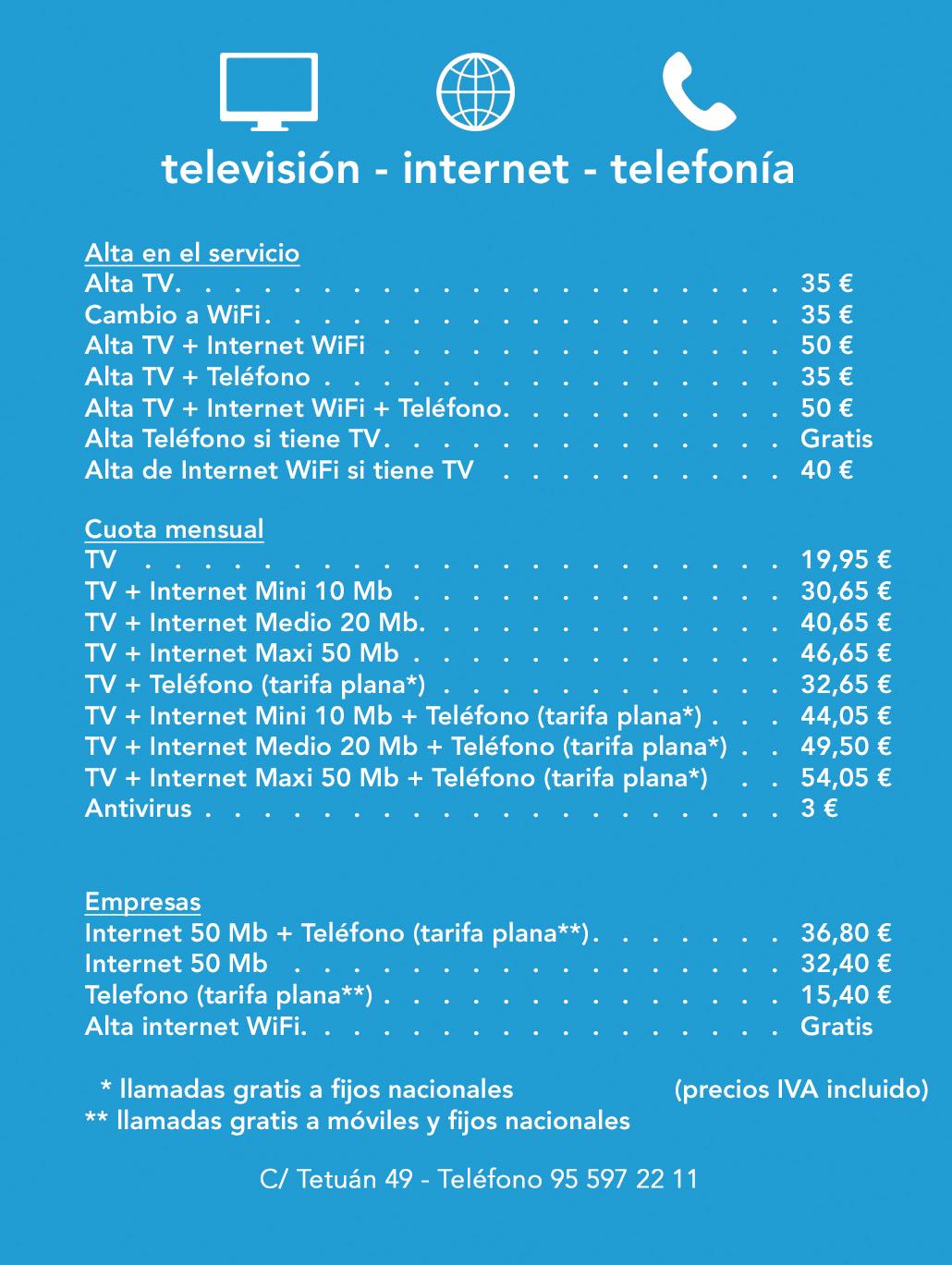 Listado de tarifas de Lebrija TV