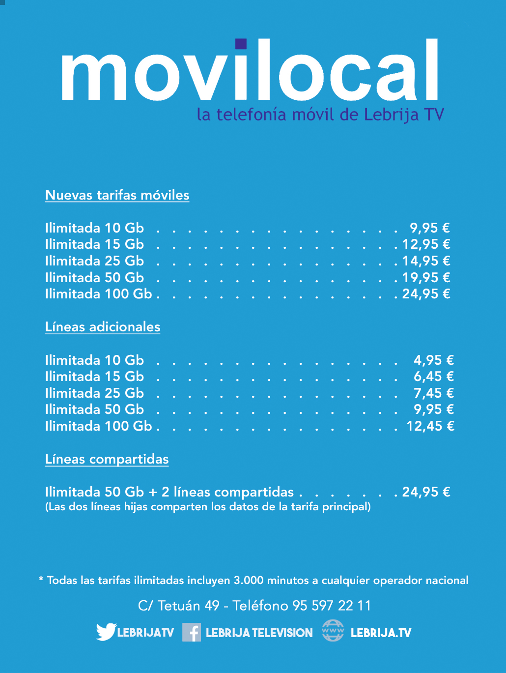 Movilocal: nuevas tarifas móviles
